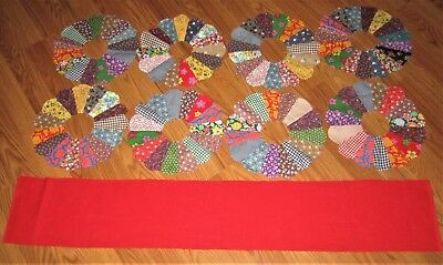 8 Vintage Unfinished Dresden Plate Pieced Quilt Rounds W/ Red Fabric For Centers