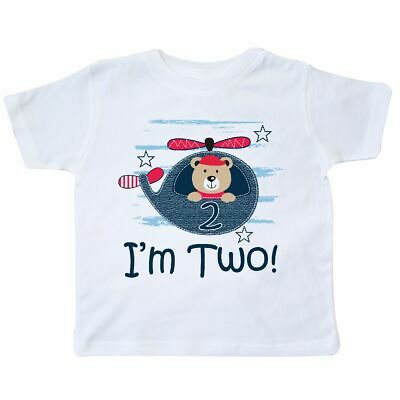 11b79a1da Inktastic 2nd Birthday Boys 2 Year Old Bear Toddler T-Shirt Im Childs  Helicopter