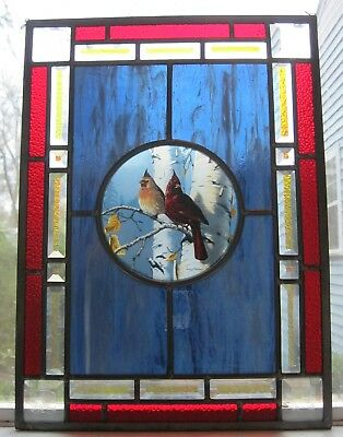 "Glassmasters Cardinals stained glass panel  18 3/4"" tall x 13 3/4"" wide"