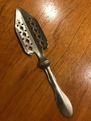 Vintage French Absinthe Spoon, Art Déco Style , Chromed Perforated Metal