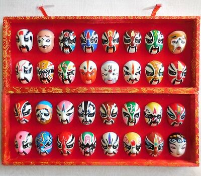 Chinese Miniature Opera Face Masks Set Mounted in Box 32 Painted Faces
