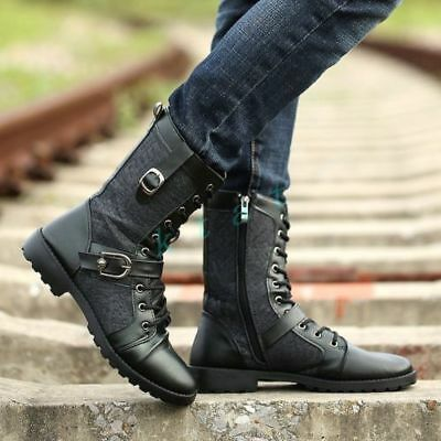 Mens Knight Biker Buckle Strap Lace Up Cowboy Shoes Military Boots Black US9 NEW