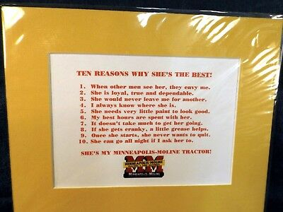 "Minneapolis-Moline Tractors - 10 Reasons Why She's The Best -  Matted 8"" X 10"""