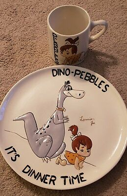 Vintage Handpainted FLINSTONES Dino and Pebbles Plate And Mug Set