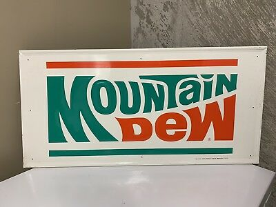 Original 1973 Stout Mountain Dew Soda Embossed Metal Sign - New Old Stock