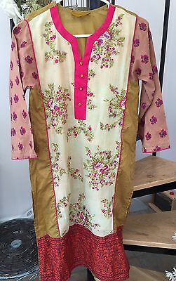 Sana Safinaz Designer Cotton Net Pakistani Indian Kurta Kameez ~ XS Kurti Shirt