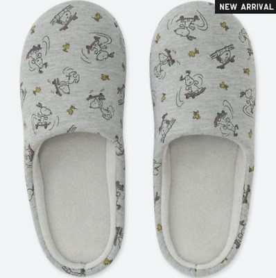 01ee81026e UNIQLO x PEANUTS Room Shoes Slippers Snoopy Woodstock Gray 413080 Size L HK  NEW