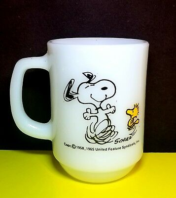 "Vtg 1965 Peanut Snoopy/Woodstock ""At Times Life Is Pure Joy"" Coffee/Tea Mug/Cup"