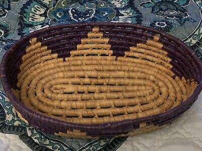 Small Oval Hand Woven Basket With Purple Accents