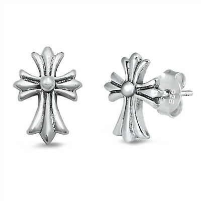 Antique Medieval Patonce Cross Stud 925 Sterling Silver Post Earrings