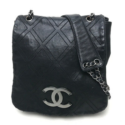 5fa065c6a385 AUTHENTIC CHANEL CC Diamond Stitch Chain bag Shoulder Bag Black Leather/  A32453