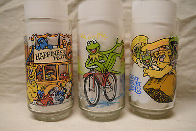 Vintage Lot of 3 McDonalds 1981 The Great Muppet Caper Glasses Tumblers Kermit