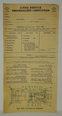 """1932 1933 CHEVY CHEVROLET /""""CITIES SERVICE/"""" LUBRICATION RECORD"""