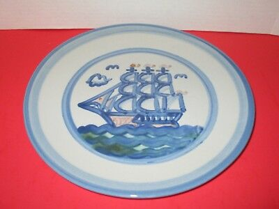 """M.A. Hadley Stoneware SHIP & WHALE 11"""" Dinner Plate & 7 3/4"""" Salad Plate"""