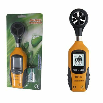 2X(Anemometer, Digital Mini LCD Wind Speed Gauge Air Flow Speed Meter & Te B9E4)