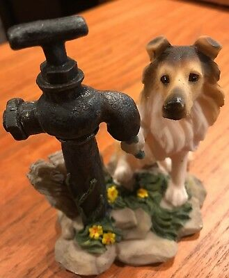 """Collie Dog Resin Statue Figurine getting water from faucet 4"""" x 4"""" great detail!"""