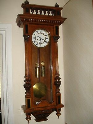 Gustav Becker Walnut Case Twin Weight Vienna Wall Clock (You Tube Video Working