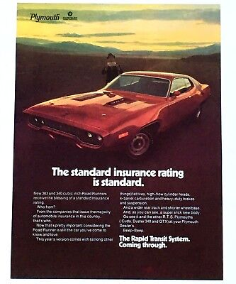 1971 Plymouth Road Runner Advertisement Color Photo Red 383 340 Car Vtg Print AD