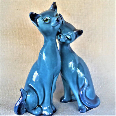 Vintage Ceramic Cats Blue Salt and Pepper Shakers Made in Japan