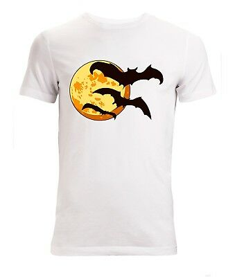 Halloween Moon With Bats Scary Artwork men's (woman's available) t shirt white