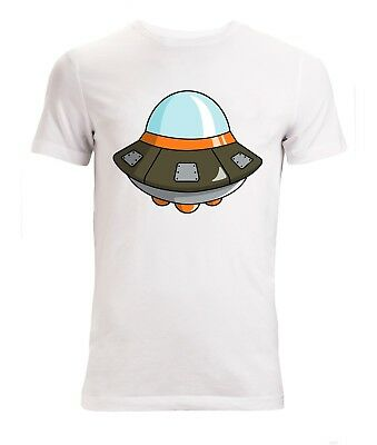 Cute Flying Saucer UFO Aliens Funny Top men's (woman's available) t shirt white