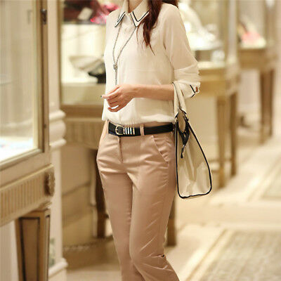 Women Casual Loose High Waist Long Pencil Pants Cropped Simple Trousers LH