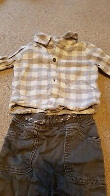 Baby Boy Trousers Check Shirt Outfit Tu Sainsburys 3-6 Months
