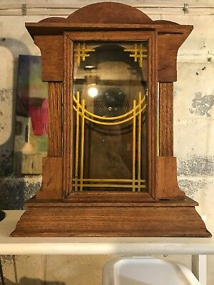 Vintage Shelf Clock Case With Glass Door Orig Chime Wood, local pickup 17603