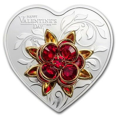 2019 Cook Islands Silver Happy Valentine's Day Heart Shape Coin