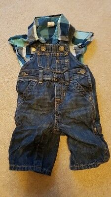 Gap Baby Boy T-Shirt/vest And Denim Short Dungarees 0-3 Months Outfit
