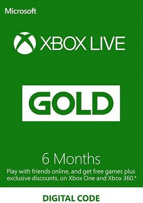 Microsoft Xbox One Live Gold 6 Months Membership Card - *INSTANT DELIVERY*