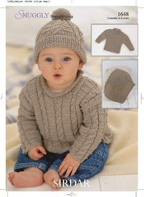 Sirdar Baby & Childs Knitting Pattern Sweaters, Blankets Hat - 1648 - Snuggly DK