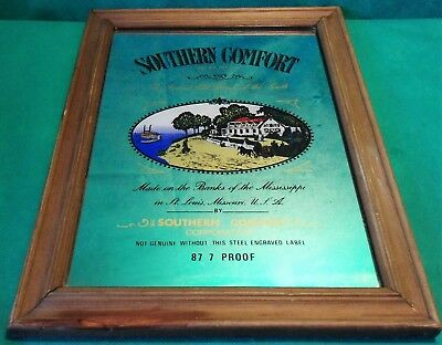 "Vintage 1970s Southern Comfort Whisky Advertising Pub Bar Picture 13"" Mirror"