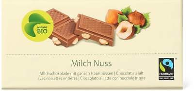 Organic Max Havelaar swiss milk chocolate with hazelnuts 5 x 100g = 500g
