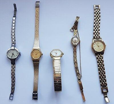 Job lot of vintage ladies watches (2 Accurist,Seiko,Zaria,Rodania)