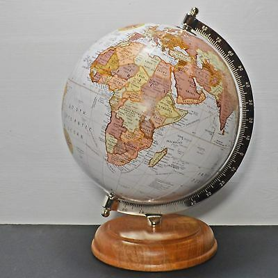 "Antique Style Globe in Antique White 10"" with a Mango Wood Base World Map"