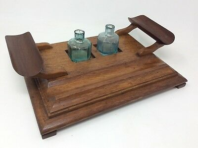 Antique Edwardian Solid Oak Wooden Inkwell Set 31 x 2 x 7.5 cms