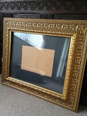 Large Vintage Old Red Plaster Solid Wood Gilt/Gilded Picture Frame