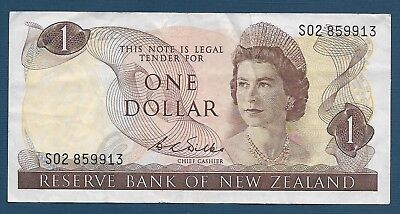 New Zealand 1 Dollar, 1968 / Wilks, VF tear