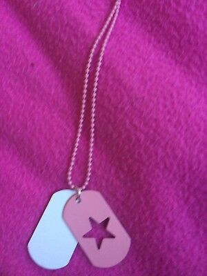 tammy girl pink star dog tag chain necklace