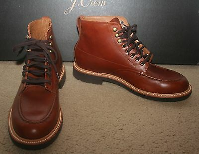 57a9936e127 J.CREW KENTON LEATHER Pacer Boots Size 8,5M Burnished Tobacco C8867