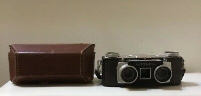 KODAK vintage STEREO CAMERA In Leather Case Untested Good Shape
