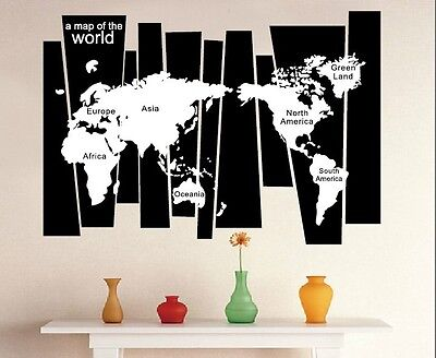 Black & White Map Of The World Removable Wall Sticker 105Cm Wide X 75Cm High