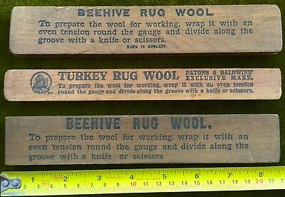 Three Antique Wooden Items: Beehive & Turkey Rug Wool Gauges