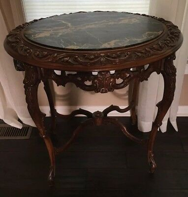Antique Carved Table With Marble Top, Beautiful Piece