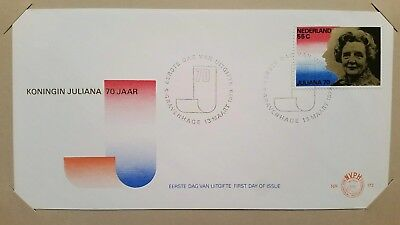 70th BIRTHDAY OF QUEEN JULIANA 13 March 1979 NETHERLANDS by CCS w/ info card FDC