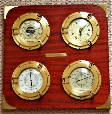 Vintage Wooden / Brass Weather Station , Baro,thermo,hygro And Clock 4 In1