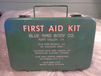 Vintage Blue Bird Body Co First Aid Kit Metal Box Original Supplies Stocked Full