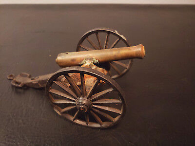 """Vintage Brass Cast Iron Cannon 6 3/4""""  Antique Toy Military MFCO MF Co 1/6"""