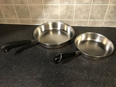 "Lot Of 3 Vintage Revere Ware 1801 Copper Bottom Skillets 7"" 9"" 12"" Clinton Ill"